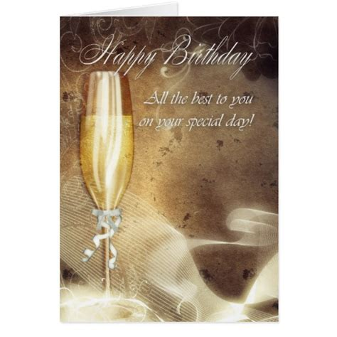 %name classy business cards   Classy Business Birthday Card   Champagne   Zazzle