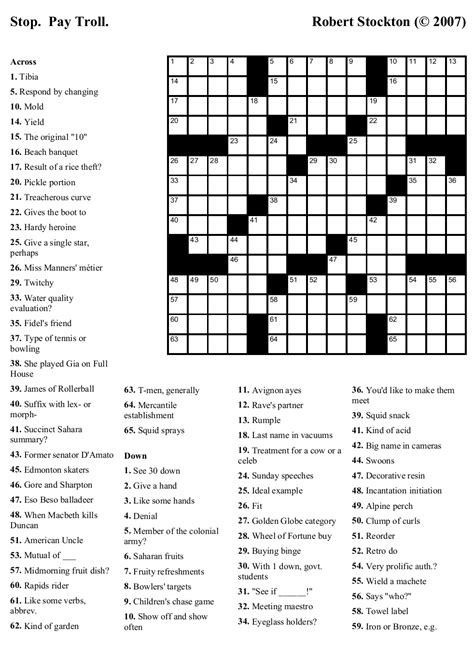 printable easy celebrity crossword puzzles beekeeper crosswords 187 blog archive 187 puzzle 20 stop