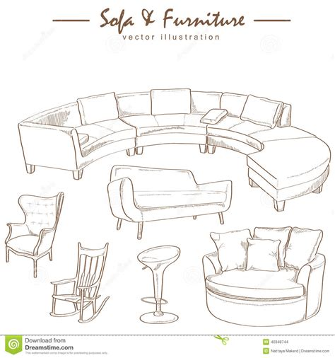 3d furniture draing furniture collection sketch drawing vector stock vector