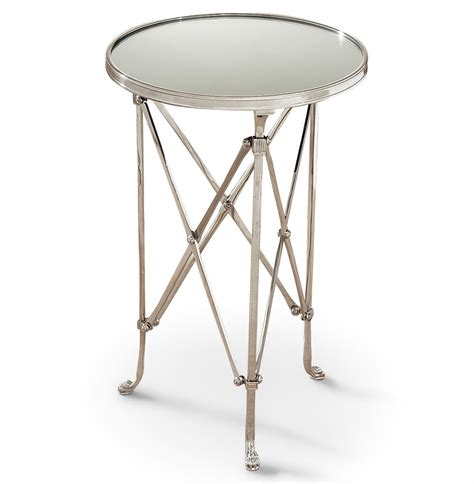 round mirrored accent table directors cut hollywood regency silver mirror round end