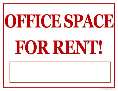 Office Spaces For Rent by Printable Office Space For Rent Sign