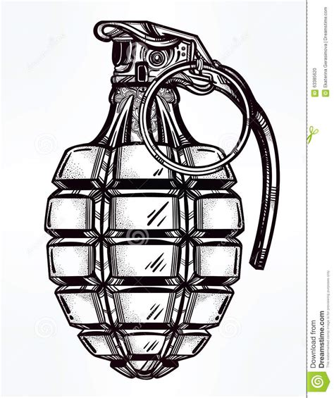 hand drawn design of an army manual grenade stock vector