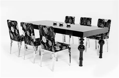 nayri transitional black high gloss dining table