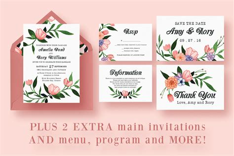 wedding invitation card suite with flower templates free floral watercolor wedding suite invitation templates on