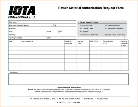 8 Return Authorization Form Authorization Letter Free Return Authorization Form Template