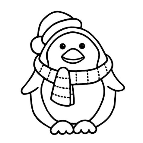 coloring pages christmas penguins penguin with scarft coloring pages animal coloring pages