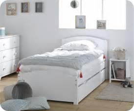 lit enfant gigogne nature blanc 90x190 cm avec 2 matelas