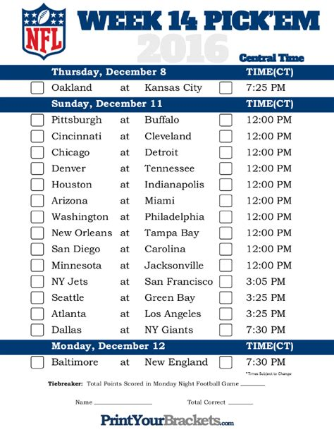 printable nfl schedule for this week central time week 14 nfl schedule 2016 printable