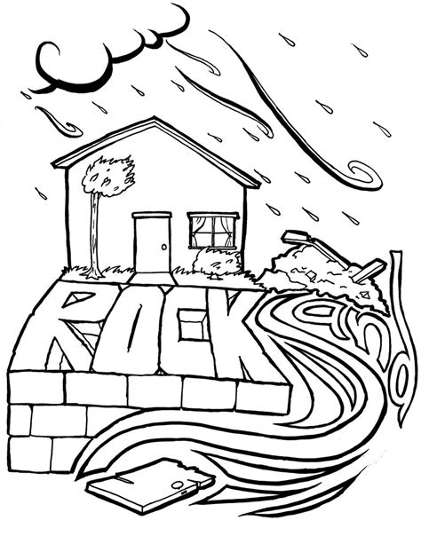 coloring pages house on the rock wise and foolish builders coloring page children s