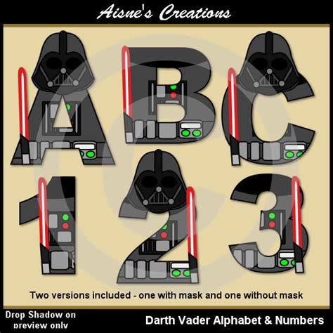sta lettere darth vader wars alphabet letters numbers clip