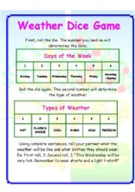 esl printable dice english worksheets weather dice game