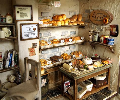 Handcrafted Shop - the bakery vintage country small bread shop miniature on