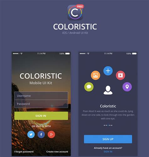 design app psd coloristic psd app ui kit free download