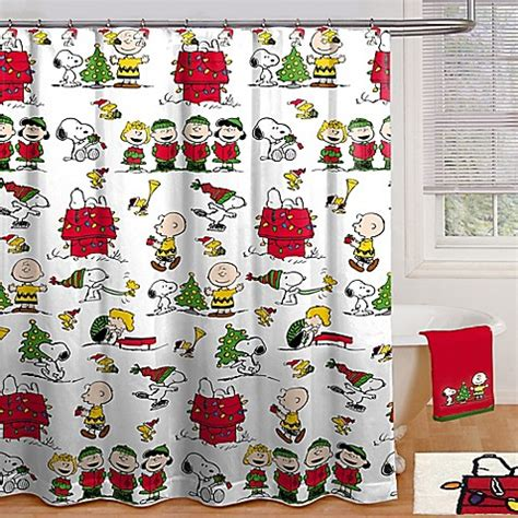 peanuts shower curtain peanuts holiday shower curtain collection bed bath beyond