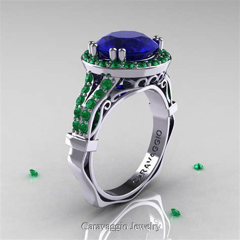 caravaggio 14k white gold 3 0 ct blue sapphire emerald