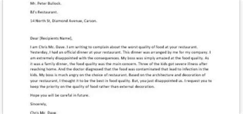 Complaint Letter About Quality Of Food Complaint Letter For Hostile Work Environment Writeletter2