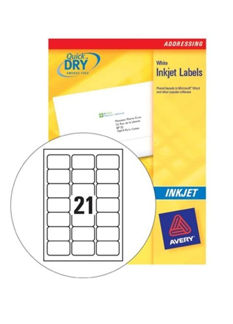 label template j8160 avery inkjet labels 21 sheet 63 5x38 1mm j8160 25 25 sheets