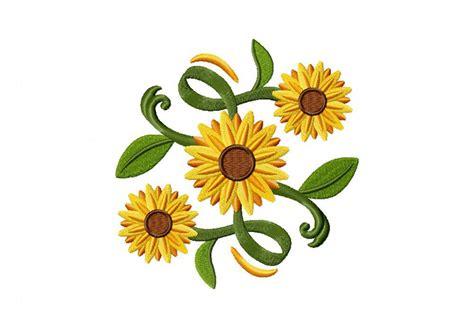 Decorative Stitch Classic Sunflower Square Machine Embroidery Design Daily