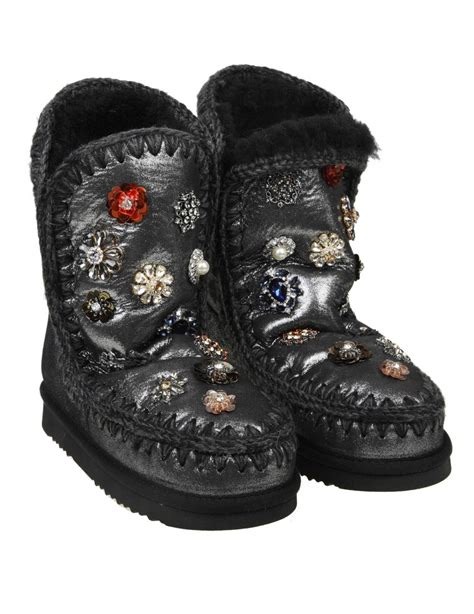 mou boots sale mou boot quot eskimo 24 quot laminated gray leather fur flowers