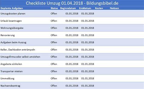 erste wohnung kosten checkliste umzug to do liste checkliste umzug organisieren