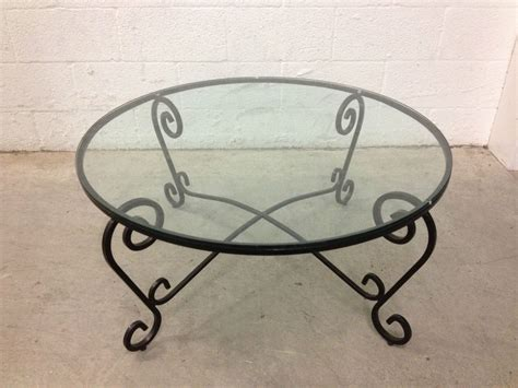 Black Wrought Iron Coffee Table Wrought Iron 36 Diameter Black Glass Top Coffee Table On Popscreen