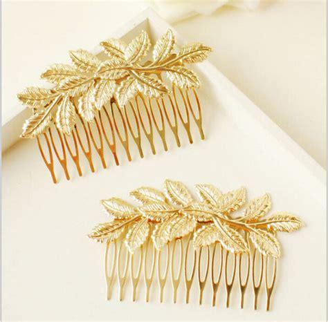 designer wedding accessories wedding hair accessories new arrival designer gold leaf bridal hair combs plastic