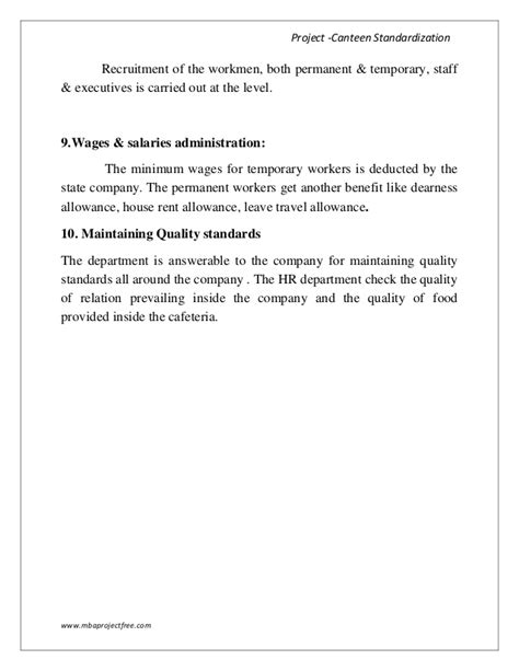 Gsk Mba Salary by A Summer Internship Report On Canteen Standardization With