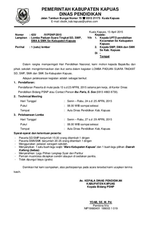Contoh Surat Undangan Sponsorship by Undangan Lomba Paduan Suara Hari Pendidikan Nasional 2015