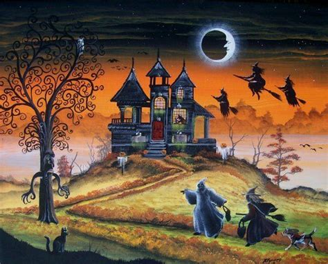 swing house artists halloween art witches haunted house magick tree children