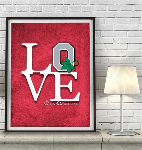ohio state buckeyes home decor ohio state buckeyes inspired quot love quot art print sports wall