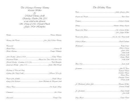 Catholic Wedding Program Template 4 Wedding Mass Program Template