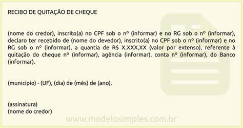 comprova cpf modelo de recibo de quita 231 227 o de cheque