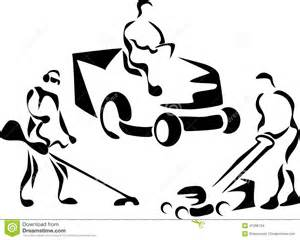 Cutting Grass Stylized Black And White Illustration sketch template