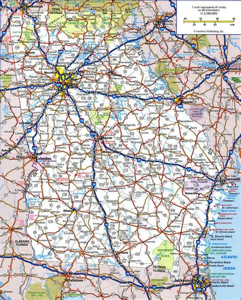georia map large detailed roads and highways map of state