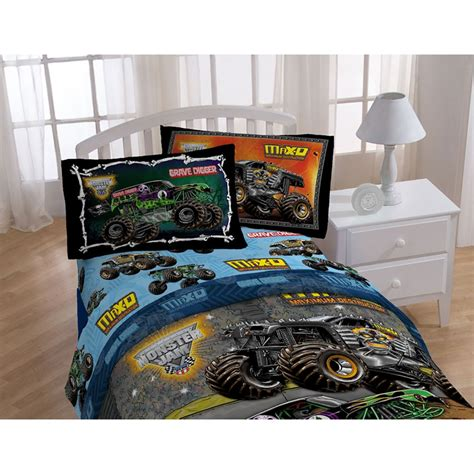 grave digger monster truck twin bed sheet set 3pc