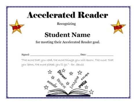 free printable star reader certificates accelerated reader goal certificate editable by