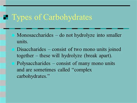 6 types of carbohydrates chapter 14 carbohydrates ppt