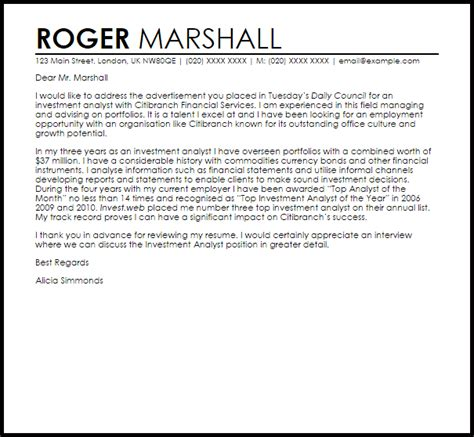 financial analyst cover letter recent graduate korest
