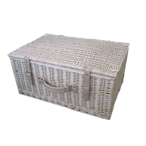 white with baskets provence 24 quot white wash wicker storage her basket