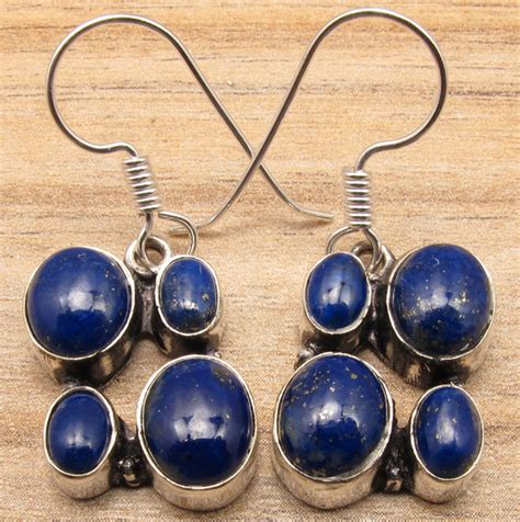 Multiplek Lapis 925 sterling silver plated original lapis lazuli s earrings ebay