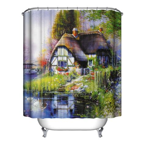 Shower Curtains With Fish Theme Fish Theme Waterproof Shower Curtain With 12 Hooks For Bathroom Home Decor