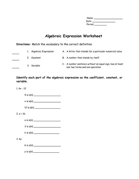 expressions and formulas worksheet 15 best images of translating words to equations worksheets translating algebraic expressions
