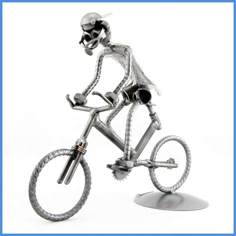 The Handmade Cyclist - handmade metal sculpture cyclist on mountain bike