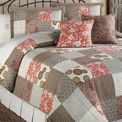 Patchwork Coverlet stella cotton patchwork quilt bed set