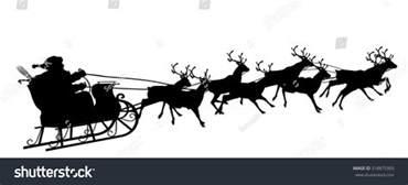 santa sleigh and reindeer silhouette santa claus reindeer sleigh black silhouette stock vector