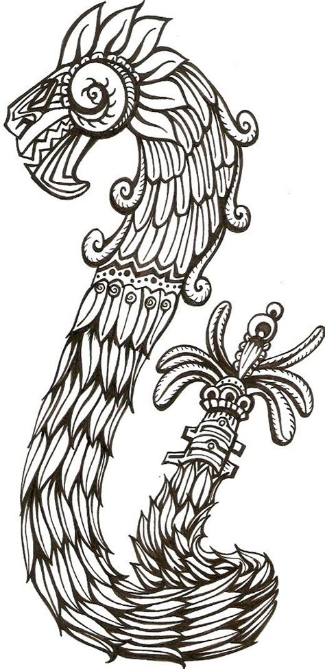 quetzalcoatl coloring page mexico on pinterest