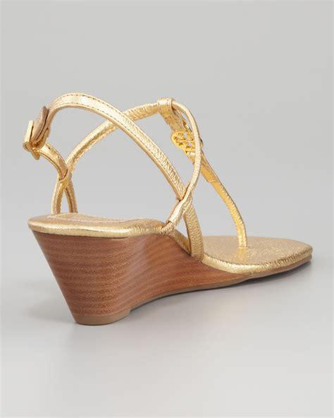 burch emmy sandals burch emmy metallic tstrap wedge sandal in metallic