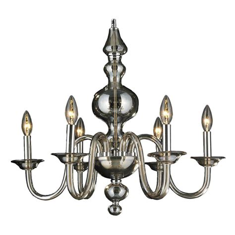 Blown Glass Chandelier Worldwide Lighting Murano Collection 6 Light Polished