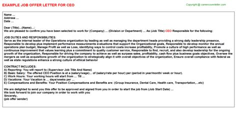 appointment letter for ceo position ceo offer letter cv157052
