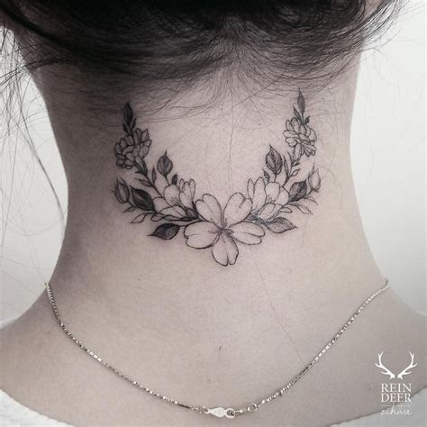neck tattoo elegant 24 breathtaking flower tattoos by zihwa tattoomagz